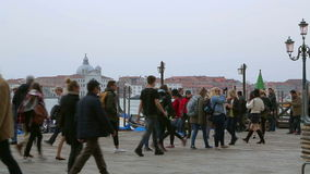 Tourists on the pier near the Grand Canal stock footage