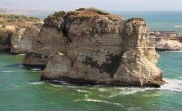 Tourists at Pigeon Rocks, Beirut - Lebanon Stock Images