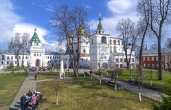 Tourists and pilgrims in the courtyard of the monastery. Royalty Free Stock Photography