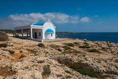 Tourists and pilgrims visiting the Agioi Anargyroi chapel situat Stock Photography