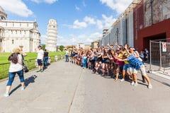 Tourists in Pisa Stock Photo
