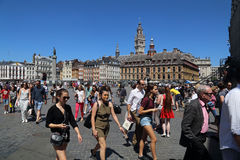 Tourists on Place du General de Gaulle in Lille, France Stock Images