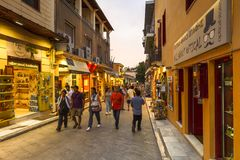 Tourists in Plaka, Athens. Athens, Greece - May 19, 2018: Tourists in the main shopping district of Plaka neighbourhood in Athens, Greece Stock Photos