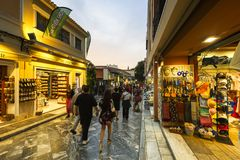 Tourists in Plaka, Athens. Athens, Greece - May 19, 2018: Tourists in the main shopping district of Plaka neighbourhood in Athens, Greece Stock Photo