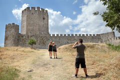 Tourists in Platamonas Castle Stock Photos