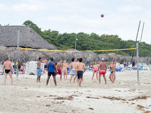 Tourists playing voleyball at the beach in Varadero, Cuba Stock Photography