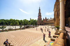Tourists in the Plaza de España of Seville Stock Image