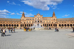 Tourists at the Plaza de Espana in Seville, Spain Stock Image
