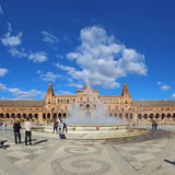 Tourists at the Plaza de Espana in Seville, Spain Stock Photography