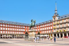 Tourists at Plaza Mayor, a historic square in Madrid. MADRID,SPAIN - AUGUST 5, 2017 : Tourists at Plaza Mayor, a historic square in Madrid Royalty Free Stock Photo