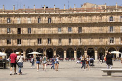 Tourists on Plaza Mayor in Salamanca, Spain Stock Image