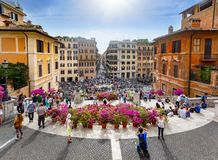 Tourists on the Plaza of Spain in Rome royalty free stock images