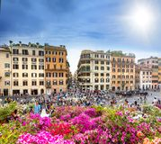 Tourists on the Plaza of Spain in Rome stock photo