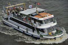 Tourists on a Pleasure Boat, Hamburg, Germany Stock Photo