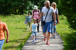 Tourists in Plitvice lakes in Croatia Royalty Free Stock Photo