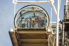 Tourists point at sights from top of observation staircase, Pomp Stock Images