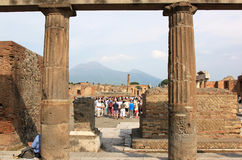 Tourists in Pompei, Foro, Italy Stock Image