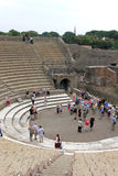 Tourists in Pompei, Teatro Grande, Italy Royalty Free Stock Photography