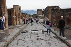 Tourists in Pompeii Stock Images