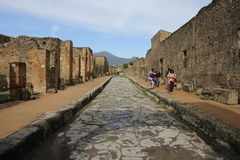 Tourists in Pompeii Royalty Free Stock Photos