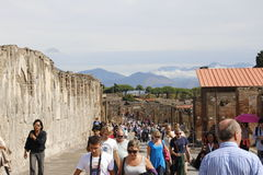 Tourists in Pompeii Royalty Free Stock Image