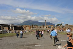 Tourists in Pompeii Stock Photography