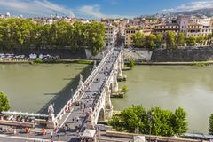 Tourists on Ponte Sant`Angelo the Aelian Bridge in Rome, view from Castel Sant`Angelo stock images