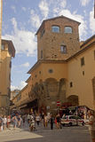 Tourists on Ponte Vecchio bridge in Florence Royalty Free Stock Images