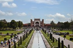 Tourists beside the pool, Taj Mahal, Agra, Uttar Royalty Free Stock Image