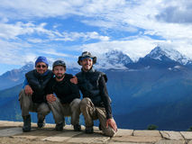 Tourists at Poon Hill, Nepal Stock Photography