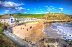 Tourists at Porthgwidden beach St Ives Cornwall England in HDR Stock Photography