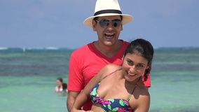 Tourists Posing For Photos Summer Vacation. Stock video in 4k or HD resolution stock footage