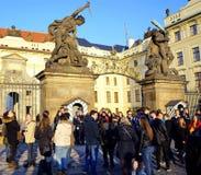 Tourists in Praga. Praga, Czech Republic in the sunset royalty free stock photography