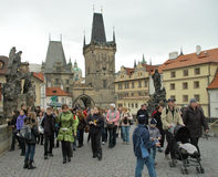 Tourists in Prague royalty free stock images