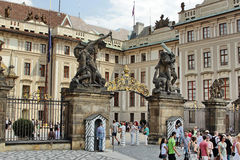Tourists at Prague castle Stock Images