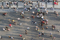 Tourists at Prague Old Town Square Royalty Free Stock Images