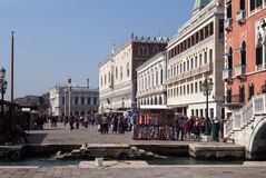 Tourists on the Promenade, Venice, Italy. royalty free stock photography