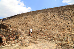 Tourists at the Pyramids in Teotihuacan, Mexico. Royalty Free Stock Photos