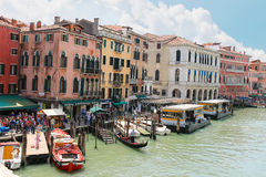 Tourists on quay of the Grand Canal  in sunny spring day,Venice, Stock Photography