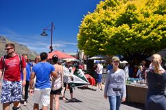 Tourists at Queenstown, New Zealand Royalty Free Stock Photography