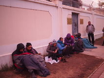 Tourists Queue Outside Chinese Embassy in Mongolia Stock Images