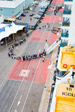 Tourists queue to entry on cruise liner Royalty Free Stock Photos