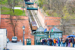 Tourists in the queue waiting for Gellert cable Royalty Free Stock Photos