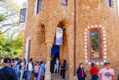 Tourists queuing in front of the Porter's Lodge Pavilion in Park Guell. royalty free stock photos