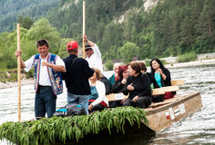 Tourists raft on the Dunajec river, south of Poland Royalty Free Stock Photos