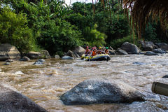Tourists rafting , Kaengkued in Maetang Chiangmai Thailand Stock Images