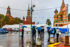 Tourists in the rain Royalty Free Stock Photography