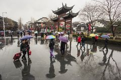 Tourists in the rainy days of Confucius Temple Scenic Spot. Nanjing Confucius Temple Scenic Spot is a tourist attraction, the picture is for the rainy days of stock photography