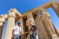 Tourists at Ramesseum temple in Luxor - Egypt Stock Image