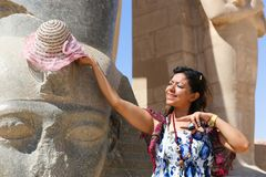 Tourists at Ramesseum temple in Luxor - Egypt Stock Photography